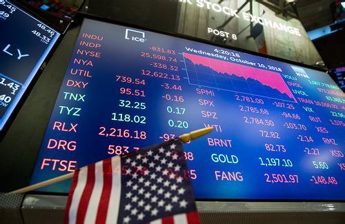 纽约股市三大股指大量抛盘重压下再次出现暴跌